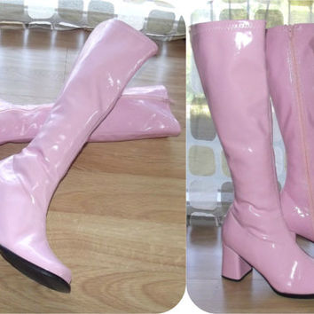 Vintage 90s as 60s PINK Patent Stretch Go Go Knee Boots 9 MOD  High Heel Round Toe