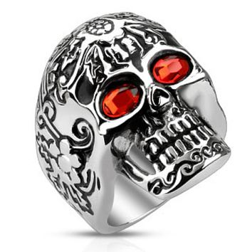 Day of The Dead Skull with Red CZ Eyes Stainless Steel Cast Ring
