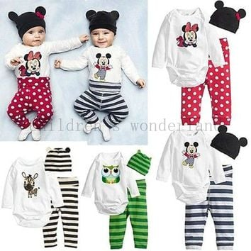 2017 Autumn 3Pcs Long-sleeved Romper+Hat+Pants Baby Clothing Set Cartoon Owl Mice Baby Girls Suit Infant Jumpsuits Costume Wears