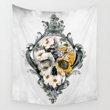 Skull Still Life Wall Tapestry by RIZA PEKER