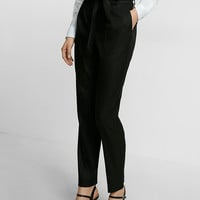 Petite High Waisted Linen-Blend Belted Ankle Pant