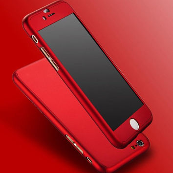 New Hybrid PC Hard Dropproof Metal Feeling Case 360 Full Body Cover+Tempered Glass For Capinhas iPhone 6 6s 7 plus iPhone6 Cases -0315