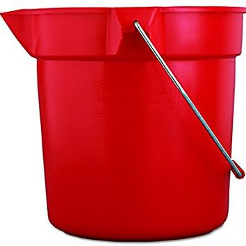 Rubbermaid Commercial FG296300RED 10 qt Capacity, 10-1/2 Diameter, 10-1/4 Height, Red Color, Brute High-Density Polyethylene Round Bucket