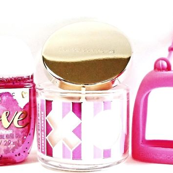 Bath and Body Works Mini Candle XOXO, Love PocketBac & Hot Pink Holder
