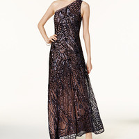 Nightway Sequined One-Shoulder Gown - Juniors Prom Dresses - Macy's