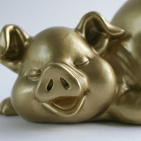 Gold Pig - Upcycled Pig - Pig Ceramic - Upcycled Pig Figure - Home Decor