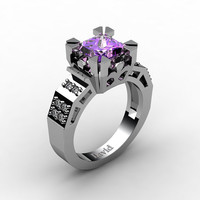 Modern Vintage 14K White Gold 2.0 Carat Princess Amethyst Diamond Solitaire Ring R1023-14KWGDAM