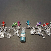 Disney cinderella fairy dust inspired stainless steel charm bracelet