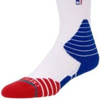 Stance Fusion 559 NBA Basketball CREW THIN STRIPE RED/BLUE 9-12 Large Mens Socks