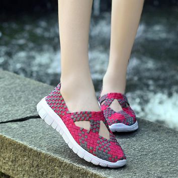 Women Big Size 35-42 Woven Sports Shoes Match Flats Breathable Sneaker Hollow Sandals Loafers Slip-on Running Sneaker Boat Shoe
