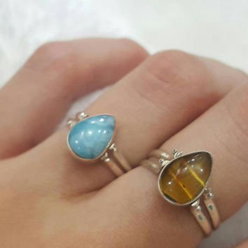 Larimar amber ring reversible double side larimar dominican  gemstone sterling silver  jewelry larimar pectolite two sides natural jewelry