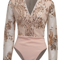 Pink Plunge V-neck Sequins Embroidery Sheer Sleeve Bodysuit