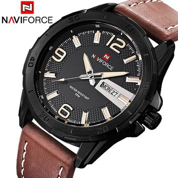 NAVIFORCE NF9055B Sports Men's Quartz Army Military Leather Strap Watch