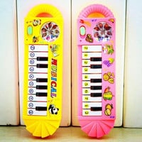 Dazzling Plastic Baby Electronic Keyboard Piano With Lovely Pictures Color Random Kids Toy Musical Instrument