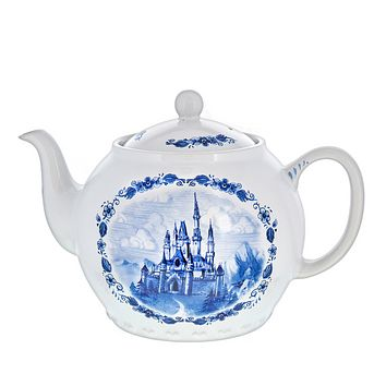 Disney Parks Cinderella Castle Teapot Toile Blue White Ceramic Tea Pot New