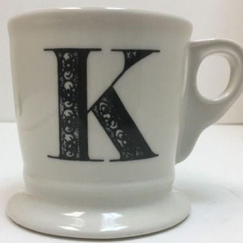 Anthropologie Monogram Ceramic Coffee Cup Mug Personalized Name Letter Initial K