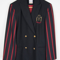 Vintage Mondi Sports Womens Jacket Double Breasted Wool Black Red Striped UK12 School Girl Preppy Badge Emblem Boating