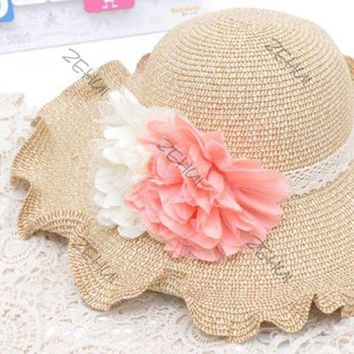 LMF78W Flower Womens Edge Curl Sun Hat Summer Beach Cap Straw Hat Wide Large Brim New Free Drop & Shipping