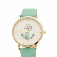 Floral Print Anchor Boyfriend Watch