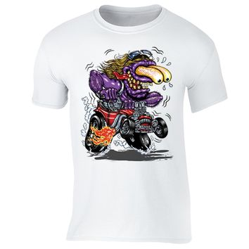 XtraFly Apparel Men's Purple Monster Hot Rod Car Truck Garage Crewneck Short Sleeve T-shirt