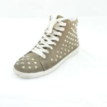 Steve Madden Twynkle Taupe Suede Lace-Up Studded Sneakers Women's 9.5 M
