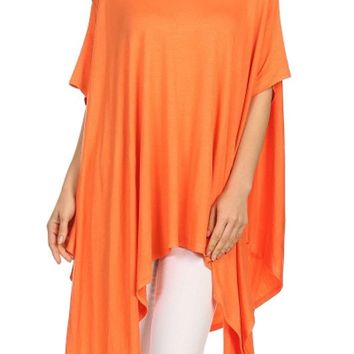 Women Boat Neck Kimono Short Sleeve Batwing Draped Jersey Poncho Top Loose Fit