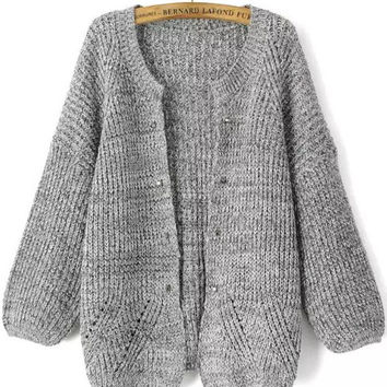 Grey Long Sleeve Rivet Knit Cardigan