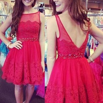 Cute Homecoming Dress,  Mini Lace Open Back Homecoming Dresses with Beadings, Short Prom Dresses