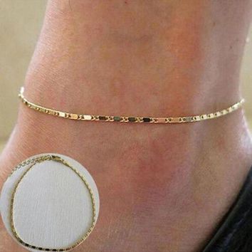 ac spbest 1PC Simple Style Sexy Gold Silver Beach Anklet Chain Women Anklet Bracelet Barefoot Foot Jewelry Fashion  Accessories