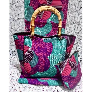 NOVA Blue and Pink Ankara Print Tote Bag with Wallet and Wood Handle