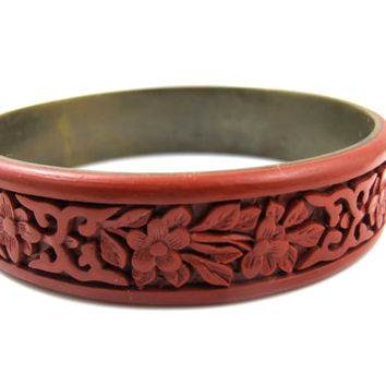Vintage Antique Chinese Cinnabar Bracelet Brass Lined Deeply Carved Bangle