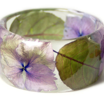 Real Flower Jewelry-  Purple Bangle- Purple Flower Jewelry- Resin Jewelry- Flower Bangle- Purple Resin Bracelet