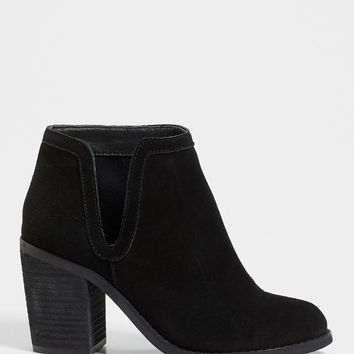 Macy genuine suede heeled bootie with cutout in black | maurices