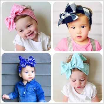 New Fashion 18colors Big bowknot Headband Baby girls Bow hair band children kids dot Cotton turban Head Wrap Hair Accessories D1
