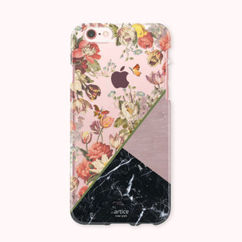 Floral iPhone 7 Case, iPhone 7 Plus Case, iPhone 6 /6S Case, iPhone 6/6S Plus Case, iPhone 5/5S/SE Case, SAMSUNG Galaxy Case - Floral Marble