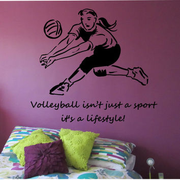 volleyball wall decal love sticker art decor bedroom design mural sports lifestyle work out home decor. beautiful ideas. Home Design Ideas