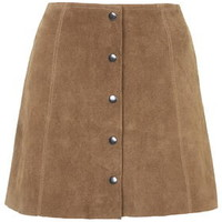 PETITE Suede Button Front A-Line Skirt - Tan