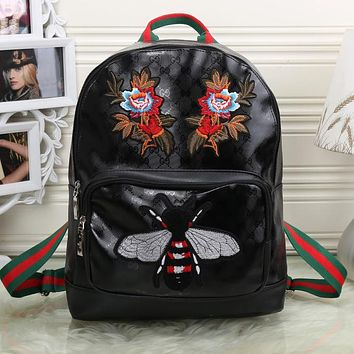 Gucci Women Fashion Leather Bee Flower Embroidery School Bookbag Backpack 06a62214200ca