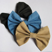 Womens fabric bows, girls denim blue hair clips, caramel ebony black kahki hairbows, bridesmaids gift, classic tuxedo bow
