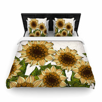 "Art Love Passion ""Sunflower Field"" Beige Yellow Woven Duvet Cover"