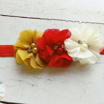 Ivory Red Mustard Headband, Cream Gold Headband, Chiffon Flower Headband, Newborn Photo Prop, Fall Hair Clip, Infant Headband, Baby Headband