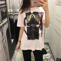 """""""Givenchy"""" Unisex Casual Fashion Blessed Virgin Print Pattern Couple Short Sleeve Cotton T-shirt Top Tee"""