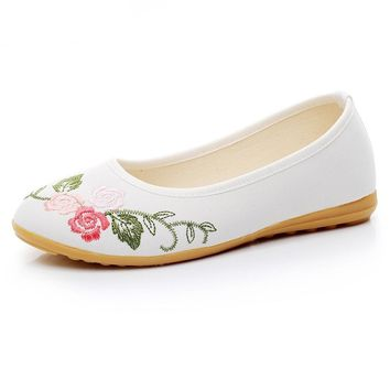 Women Ballets Shoes Flower Slip On Cotton Fabric Linen Comfortable Old Peking Ballerina Flat Shoes Woman