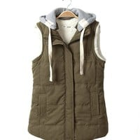 Superbaby Women Hooded Fleece Quilted Vest 14 16 (14, Green)