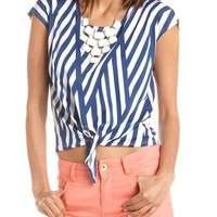 Crochet Back Tie-Front Striped Top: Charlotte Russe