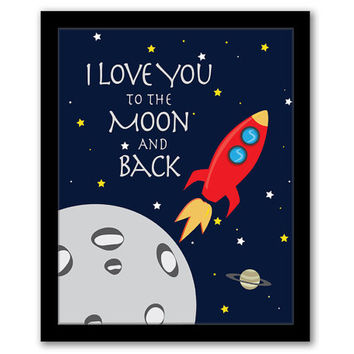 I Love You To The Moon and Back, Rocket Art, Nursery Art, Playroom Decor, Rocket, Children's Art, Boys Room, Space Art, INSTANT DOWNLOAD.
