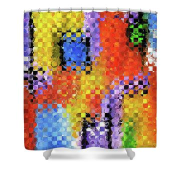 Colorful Modern Art - Pieces 11 - Sharon Cummings Shower Curtain