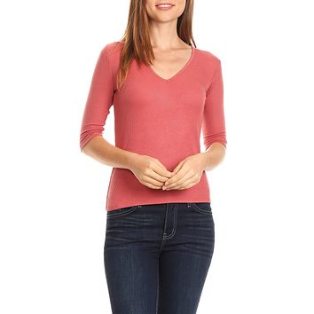 LE3NO Womens Fitted 3/4 Sleeve V Neck Soft Ribbed Knit Top