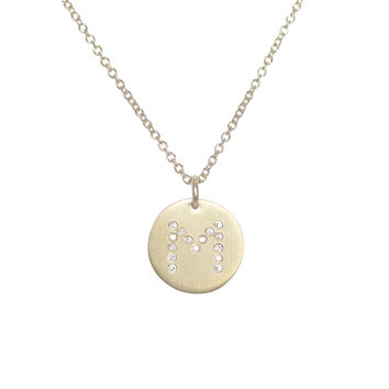 24k Gold Plated Diamond Initials Necklace-M