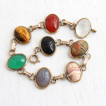 Vintage 12K Yellow Gold Filled Scarab Bracelet - Retro 1960s Carved Colorful Stone Egyptian Revival Onyx, Quartz, Tiger's Eye Jewelry
